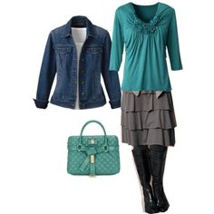 I love these colors!  Everything except the purse... and I would wear my cowboy boots with it! :)