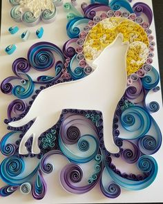 Quilled art wolf howling at the moon