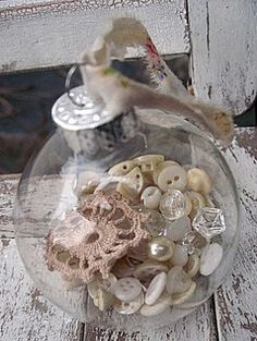Shabby Christmas Ornament - look through Grandma's sewing box for mother of pearl buttons and pieces of lace - Little Beach Designs