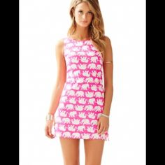 Pop Pink Tusk in the Sun Delia Shift Dress ❤️ Lilly Pulitzer Dresses