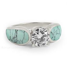 """""""Stormy Sky"""" One Carat Turquoise Diamond Engagement Ring"""