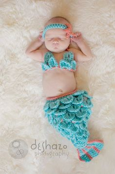Newborn Crochet Mermaid Tail and Shell Top - Aqua With a Coral Accent - Made to Order - Photography Prop. $49.95, via Etsy.