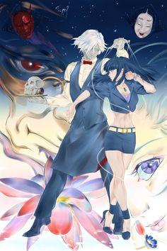 Death Parade fan art anime Chiyuki x Decim from Pixiv