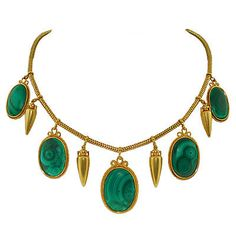A. Brandt + Son - Victorian Huge 15kt Gold Urn  Malachite Necklace