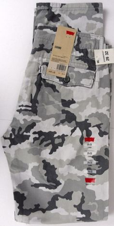 NEW! LEVIS 29X32 Chino Pants Gray Camouflage Sits Below Waist Regular Fit Cotton #Levis #KhakisChinos