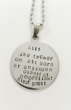 Feel Good, Dog Tag Necklace, Messages, Smileys, Lund, Humor, Feelings, Tgif, Learning