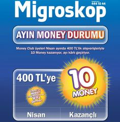 Money Club Card Nisan 2013 400 TL Alışverişe 10 Money Kazanma Fırsatı