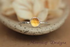 Delicate Golden Citrine Promise Ring  Unique by moonkistdesigns