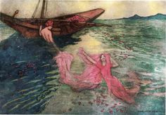 Folk-Tales of Bengal - Warwick Goble (1912) - Coming up to the surface they climbed into the boat. (The origin of rubies)