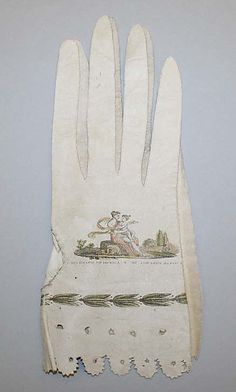 A beautiful example of painted and/or drawn gloves, a very popular way to showcase talents.  Early 19th century, Met.