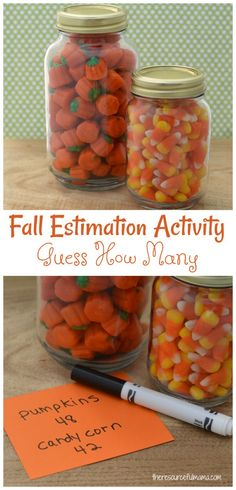 This fall estimation activity is fun and easy addition to Fall and Halloween parties. Kids use real math life skills when estimating how many items are in jars.