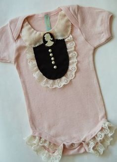 i know you dont like pink much but i totally dig this fancy baby onsie, & how cute in navy or cream too! -- @Megan Liljenquist