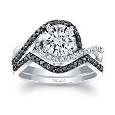 White And Black Diamond Real White Gold Wedding Band Engagement Ring Set Engagement Ring Settings, Diamond Engagement Rings, Wedding Engagement, Gold Diamond Wedding Band, Bridal Sets, Or Rose, Rose Gold, Diamond Jewelry, Marie