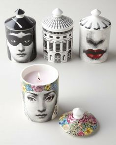 Fornasetti Scented Candle - home decor / candles & holders / (designs shown are Flora, Burlesque, Architettura and Bacio)