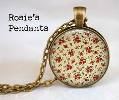 Granny Calico  Dainty Red Floral  Autumn Colors  by RosiesPendants