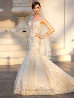 Elegant Straps Pluging V-neck Beaded Lace Wedding Dresses with Deep V-back