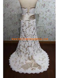 Fabulous Strapless Mermaid Applique Satin Light Champagne Wedding Dresses 2013