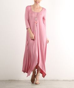 Look what I found on #zulily! Dusty Pink Handkerchief Maxi Dress - Plus #zulilyfinds