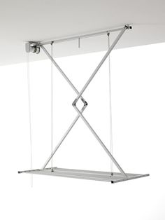 New Product 2016 Space-saving ceiling-mounted drop-down clothes drying rack. Laundry Room Cabinets, Laundry Room Storage, Laundry Room Design, Laundry In Bathroom, Drying Rack Laundry, Laundry Dryer, Clothes Drying Racks, Wall Mounted Clothes Airer, Hanging Drying Rack