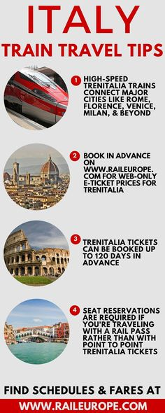 Italy Train Travel Tips from Rail Europe, the European train travel experts! Some helpful tips if you want to ride the trains in Italy.