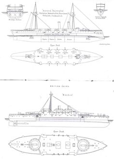 Deck plans of the British monitor 'Roberts' (1915) Ship
