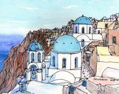 Santorini Oia 6 Griechenland Kunstdruck aus einer original Aquarell