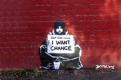 By Banksy. Banksy (unknown identity) is famous for his street art on social or political issues. He combines graffiti and stenciling techniques to portray satirical, yet dark ideas. Banksy Graffiti, Street Art Banksy, Banksy Posters, Arte Banksy, Graffiti Artwork, Bansky, Banksy Canvas, Banksy Prints, Stencil Graffiti