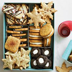 Shortbread Cookie Sampler | Buttery bites make for well-received packages. We used a 9- × 6-inch box and inserted individual white treat boxes as dividers. | Click the link to download printable gift tags.