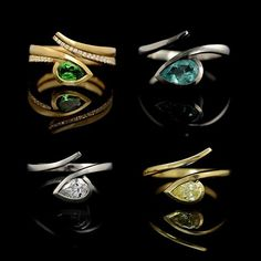 Twist rings four ways. Choose vivid colour or dazzling diamonds  #lovegold #showmeyourrings