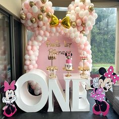 A selection of baby girl& first birthday theme ideas for parents planning their baby& first birthday party or event Girls First Birthday Theme Ideas, Minnie Mouse Birthday Decorations, Minnie Mouse First Birthday, 1st Birthday Party Themes, Baby Girl First Birthday, Birthday Celebration, Children Birthday Party Ideas, Baby Girl Birthday Decorations, Birthday Event Ideas