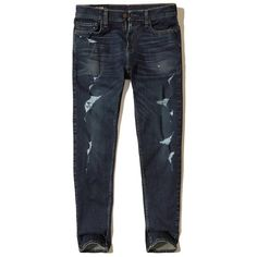 Hollister Classic Taper Jeans ($25) ❤ liked on Polyvore featuring men's fashion, men's clothing, men's jeans, ripped dark wash, mens torn jeans, mens faded jeans, mens slim fit tapered jeans, mens ripped jeans and mens distressed jeans