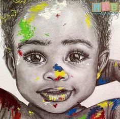 Beautiful art!! Baby girl covered in paint