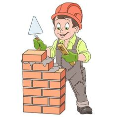 Kids in Professions. Cartoon builder with trowel and level tool working around a brick wall. Design for children's coloring book.: comprar este vector de stock y explorar vectores similares en Adobe Stock Preschool Jobs, Under Construction Theme, Clown Crafts, Planting For Kids, Flashcards For Kids, Decoupage Printables, Bff Drawings, School Images, School Painting