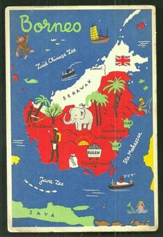 """Vintage Travel """" experience an Intimate Honeymoon Holiday only in Borneo . home to the orang-utan. Poster Ads, Thinking Day, Map Design, Travel Maps, Vintage Travel Posters, Map Art, Travel Around The World, Traveling By Yourself, Travel Inspiration"""