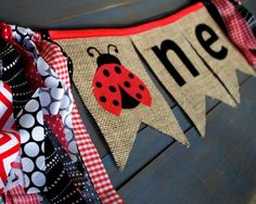 ONE Ladybug Black & Red Highchair Burlap Bunting Banner for Girl First Birthday Party, Picnic Birthday, Photo Prop by MsRogersNeighborhood Etsy shop