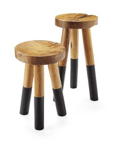 Reclaimed teak branches get a second life. This sturdy stool is shaped by hand with a smooth wax finish, leaving all the natural imperfections that we love about raw wood intact. The legs are then dipped in glossy paint for a slightly modern edge. Because of the handcrafted nature of each stool, no two are exactly alike.