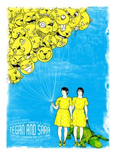 Tegan and Sara with Holly Miranda and Steel Train in San Diego, CA 2010 [Tour poster]