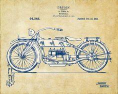 Vintage Harley-davidson Motorcycle 1919 Patent Artwork by Nikki Smith