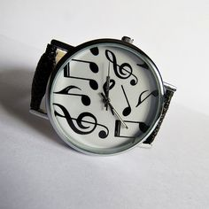 Musical Notes Watch Vintage Style Leather Watch by FreeForme