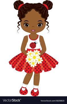 Little african american girl with flowers vector image on VectorStock