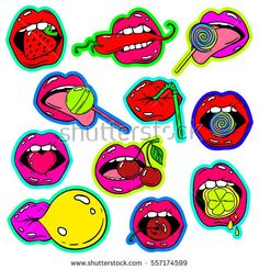Fun set of female lips stickers icons emoji pins or patches in cartoon pop comic style Woman s mouth with strawberry cherry pepper lemon bubble gum candy lollipop and cocktail straw Cartoon Drawings, Art Drawings, Candy Drawing, Icon Emoji, Female Lips, Mouth Drawing, Tumblr Stickers, Flash Art, Hippie Art