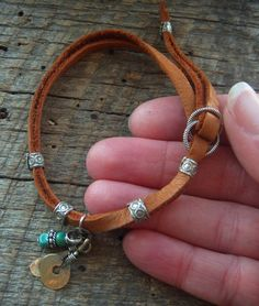 Indian Charm Looped Leather Bracelet by YuccaBloom on Etsy