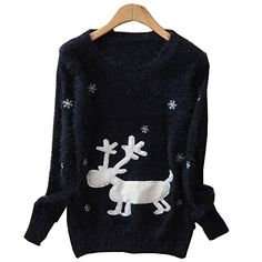 Lana Hua Christmas Sweater Rudolph Reindeer in Snow Sweatshirt Limited Edition 2014 (Blue) Shineflow