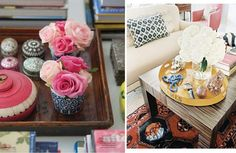 Trays are the perfect place to put coasters, cocktail napkins and even a few glasses.