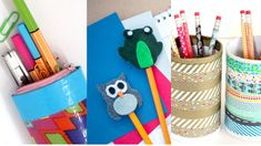 Simple DIYs for Back-to-School Essentials Broken Book, Crafts From Recycled Materials, Back To School Essentials, Pencil Cup, Pencil Toppers, Good Notes, Mechanical Pencils, Candy Colors, Scrapbook Paper
