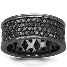 Black Rhodium Mens Custom Black Diamond Band 10K