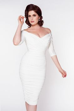high glamour figure shaping off the shoulder gathered wiggle dress in off white White Cocktail Dress, White Dress, Pin Up Dresses, Dress Up, Pin Up Girls, How To Dress For A Wedding, Pinup Girl Clothing, My Sun And Stars, Glamour