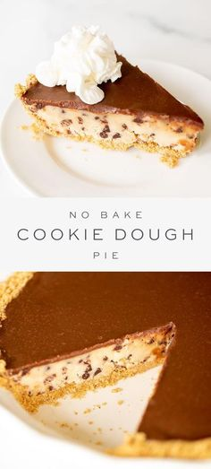This cookie dough pie recipe is every bit as delicious as you're imagining it to be! It's bursting with sweet and salty chocolate chip cookie dough, a buttery, crispy graham cracker crust, and a layer of decadent chocolate sauce on top. It's an unforgettable cookie dough dessert you'll want to make TODAY! #pie #cookiedough #thanksgiving Easy Cheesecake Recipes, Best Dessert Recipes, Sweet Desserts, Pie Recipes, Easy Desserts, Delicious Desserts, Dessert Ideas, Cookie Dough Desserts, No Bake Cookie Dough