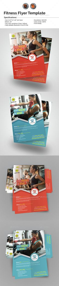 Fitness/Gym Flyer Template Vector EPS, AI. Download here: http://graphicriver.net/item/fitnessgym-flyer-template/15456590?ref=ksioks