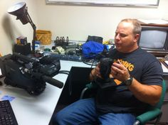 The Changing Seas crew is busy packing their gear for their shoot in Belize next week! Here, cameraman Sean Hickey is getting the camera ready for travel. #changingseas #belize #travel #shoot #documentary